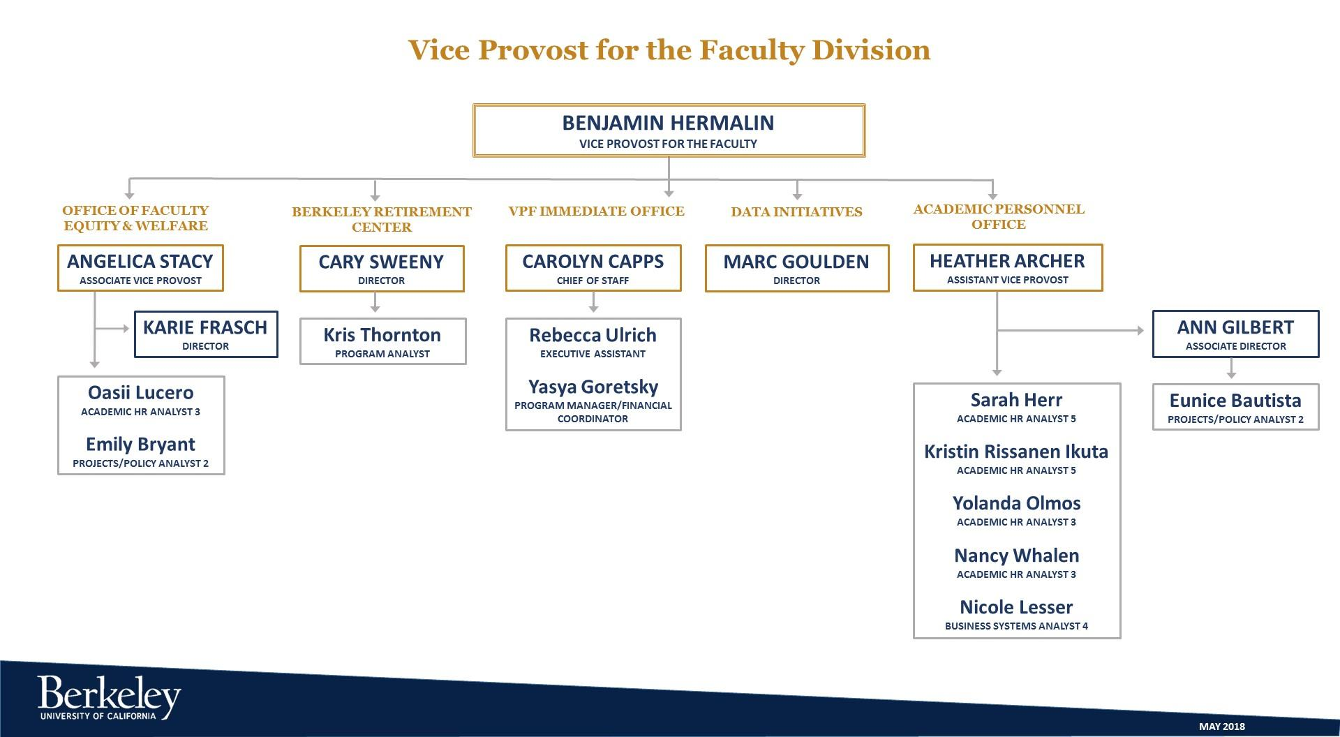 Organizational Chart Vice Provost Faculty Office